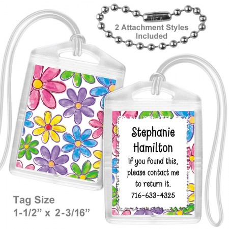 Watercolor Flowers Mini Bag Tag