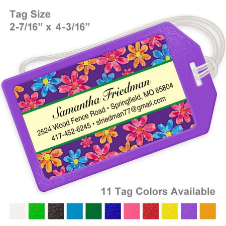 Watercolor Flowers Purple Luggage Tag