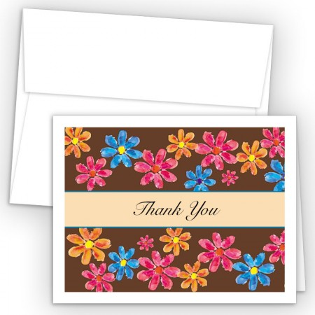 Watercolor Flowers Thank You Cards