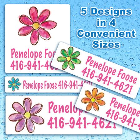 Watercolor Flowers Waterproof Name Labels For Kids