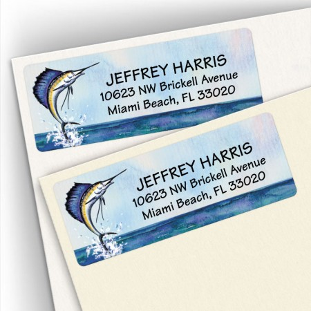 Watercolor Sailfish Address Labels
