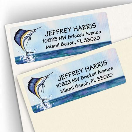 Watercolor Sailfish Address Labels