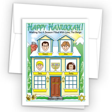 Winter House Happy Hanukkah Holiday Fold Note Head