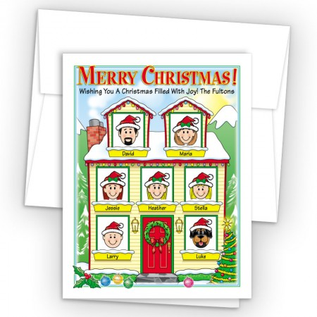 Winter House Merry Christmas Holiday Fold Note Head