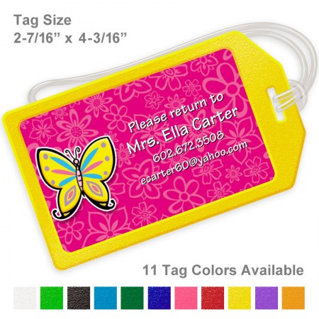Yellow Butterfly Luggage Tag