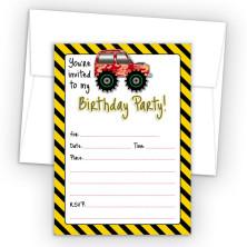 4X4 Truck Fill-In Birthday Party Invitations