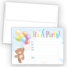Balloon Bear Fill-In Birthday Party Invitations