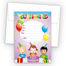 Birthday Cake Fill-In Birthday Party Invitations