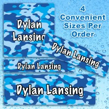Blue Camo Waterproof Name Labels For Kids