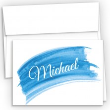 Blue Watercolor Fold Over Note Cards