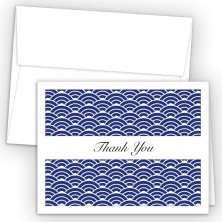 Blue Woodblock Thank You Cards