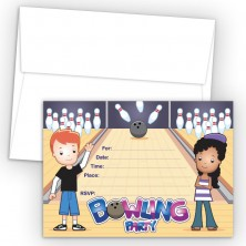 Bowling Fill-In Birthday Party Invitations