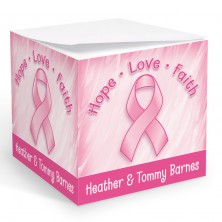 Breast Cancer Ribbon Memo Cube