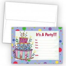 Cake Blue Fill-In Birthday Party Invitations