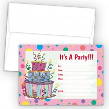 Cake Pink Fill-In Birthday Party Invitations