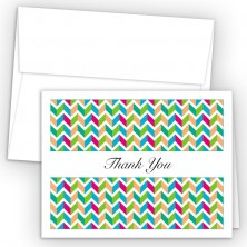 Chevron Green Thank You Cards
