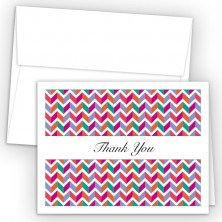 Chevron Magenta Thank You Cards