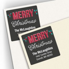 Christmas Holly Square Address Labels
