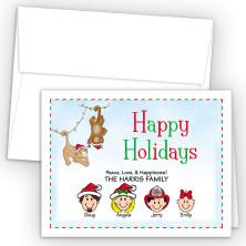 Christmas Monkeys Happy Holiday Fold Note