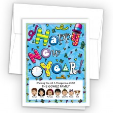 Clock Happy New Year Card