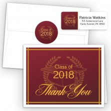 Crest on Maroon Thank You Card Package