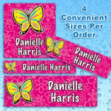 Colorful Butterfly Waterproof Name Labels For Kids