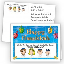 Colorful Dreidels Happy Hanukkah Fold Note Set