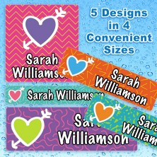 Colorful Hearts 2 Waterproof Name Labels For Kids