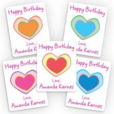 Colorful Hearts Mini Gift Labels