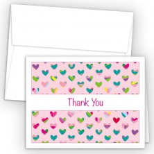 Colorful Hearts Pink Thank You Cards