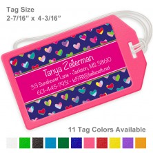 Colorful Hearts Royal Blue & Magenta Luggage Tag