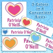 Colorful Hearts Waterproof Name Labels For Kids