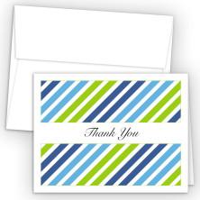 Diagonal Stripes Green Thank You Cards