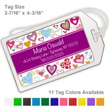 Doodle Hearts Purple Luggage Tag