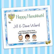Dreidels Hanukkah Gift Label