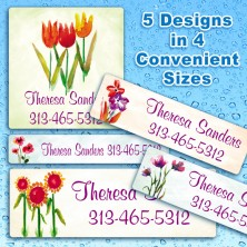 Elegant Flowers Waterproof Name Labels For Kids