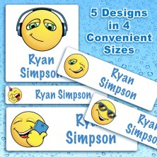 Emoticon Boys Waterproof Name Labels For Kids