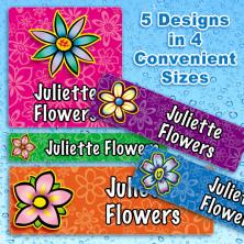 Flowers Waterproof Name Labels For Kids