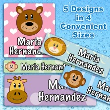 Friendly Animals Waterproof Name Labels For Kids