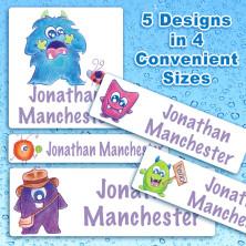 Friendly Monsters Waterproof Name Labels For Kids