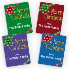 Gift Bow Merry Christmas Small Gift Labels