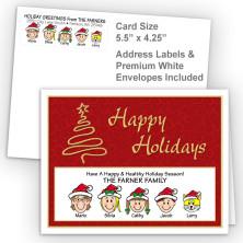 Gold Tree Happy Holidays Fold Note Set