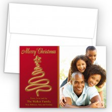 Gold Tree Photo Upload Holiday Card