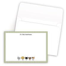 Green Stripes Bordered Family Correspondence Card