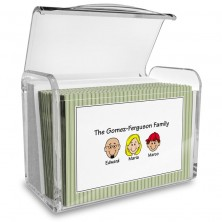 Green Stripes Family Note Card Set with Acrylic Holder