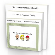 Green Stripes Family Note Pad Set & Acrylic Holder