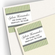 Green Stripes Square Address Labels