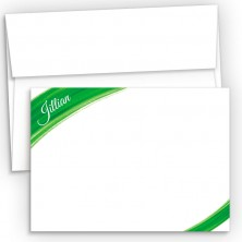 Green Watercolor Flat Correspondence Cards