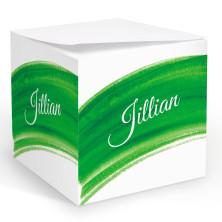 Green Watercolor Memo Cube