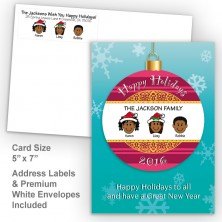 Happy Holiday Ornament Style M Holiday Card Set